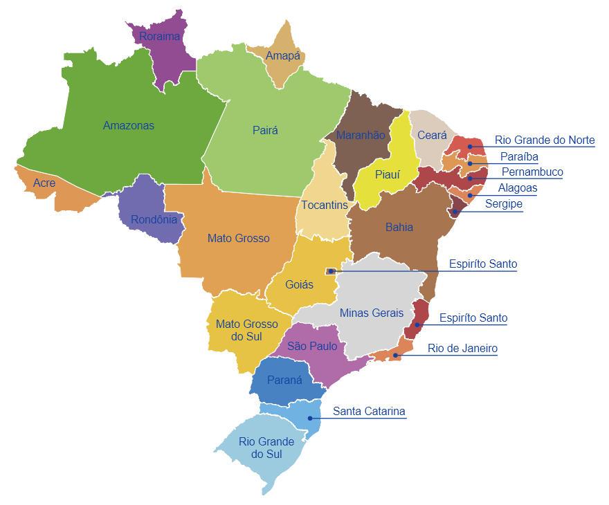 Compras no Brasil em mapa