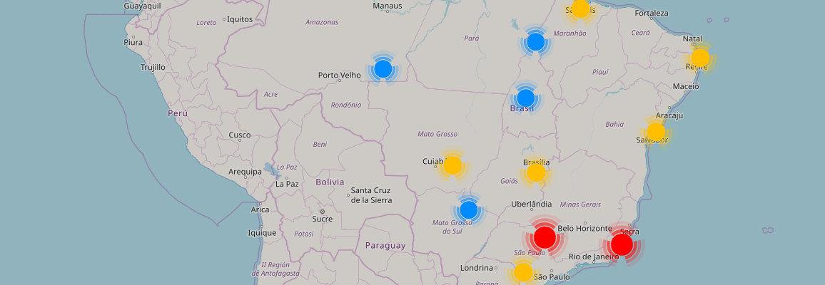 Mapa de localizações de lojas All Beef's no Brasil